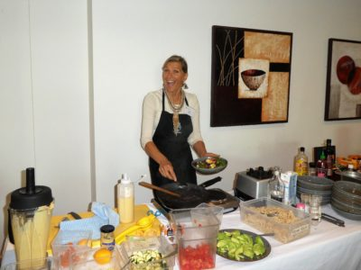 Anita Rickey from Diggers Vegie Kitchen giving a cooking demonstration